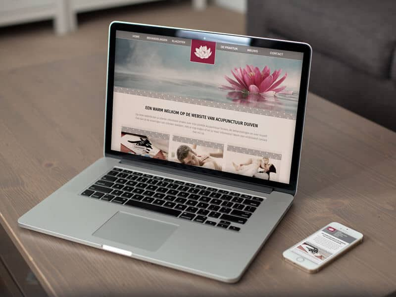 Redesign responsive website / webdesign voor Acupunctuur Duiven - homepage