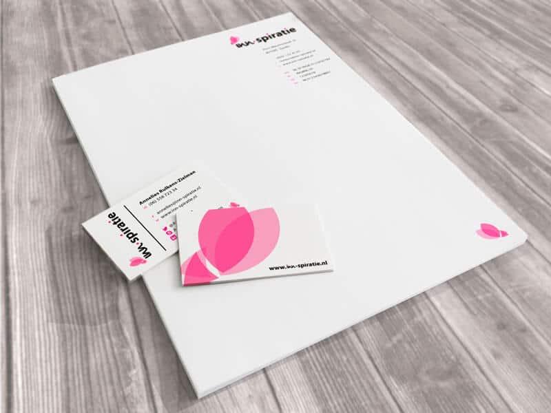 Ontwerpen huisstijl Inn-Spiratie - briefpapier en visitekaartje