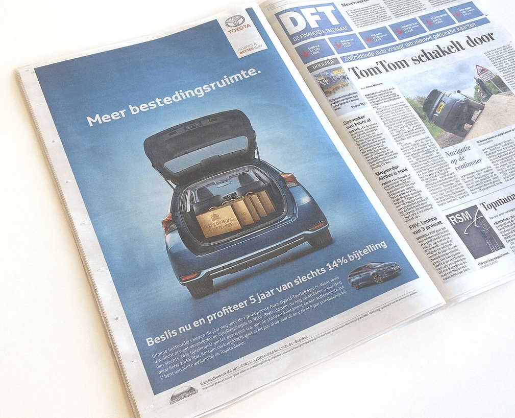 Prinsjesdag 2015 - reclame inhaker Toyota